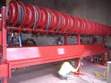 Alemite reels for a mining installation