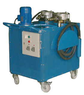 Portable filtration unit with two filters and optical and electrical indicators
